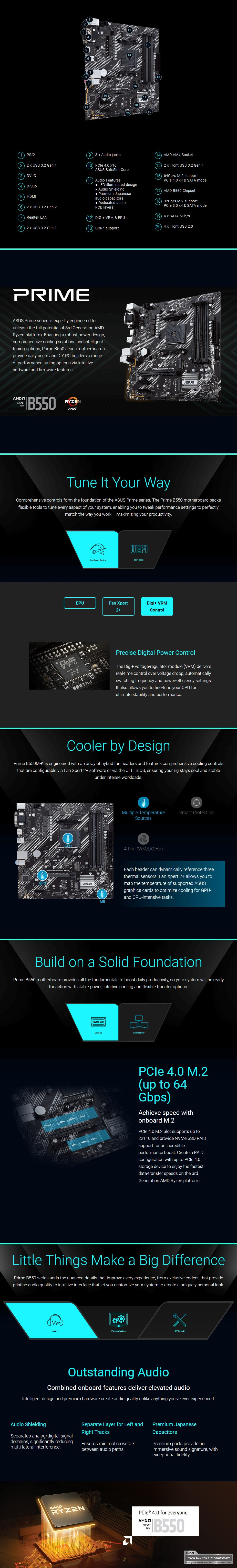ASUS PRIME B550M-K AM4 Micro-ATX Motherboard - Overview 1