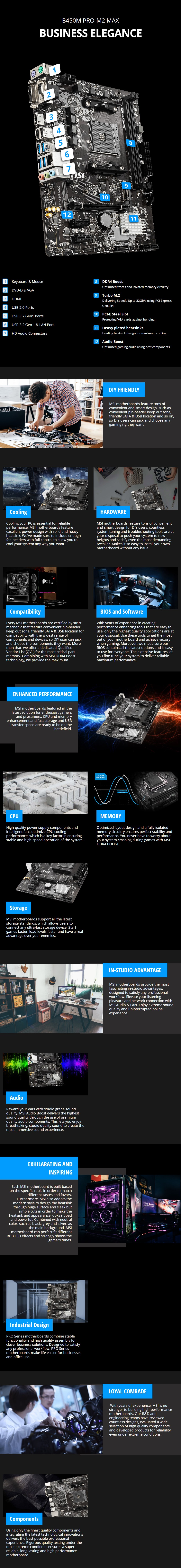 MSI B450M PRO-M2 MAX AM4 Micro-ATX Motherboard - Overview 1