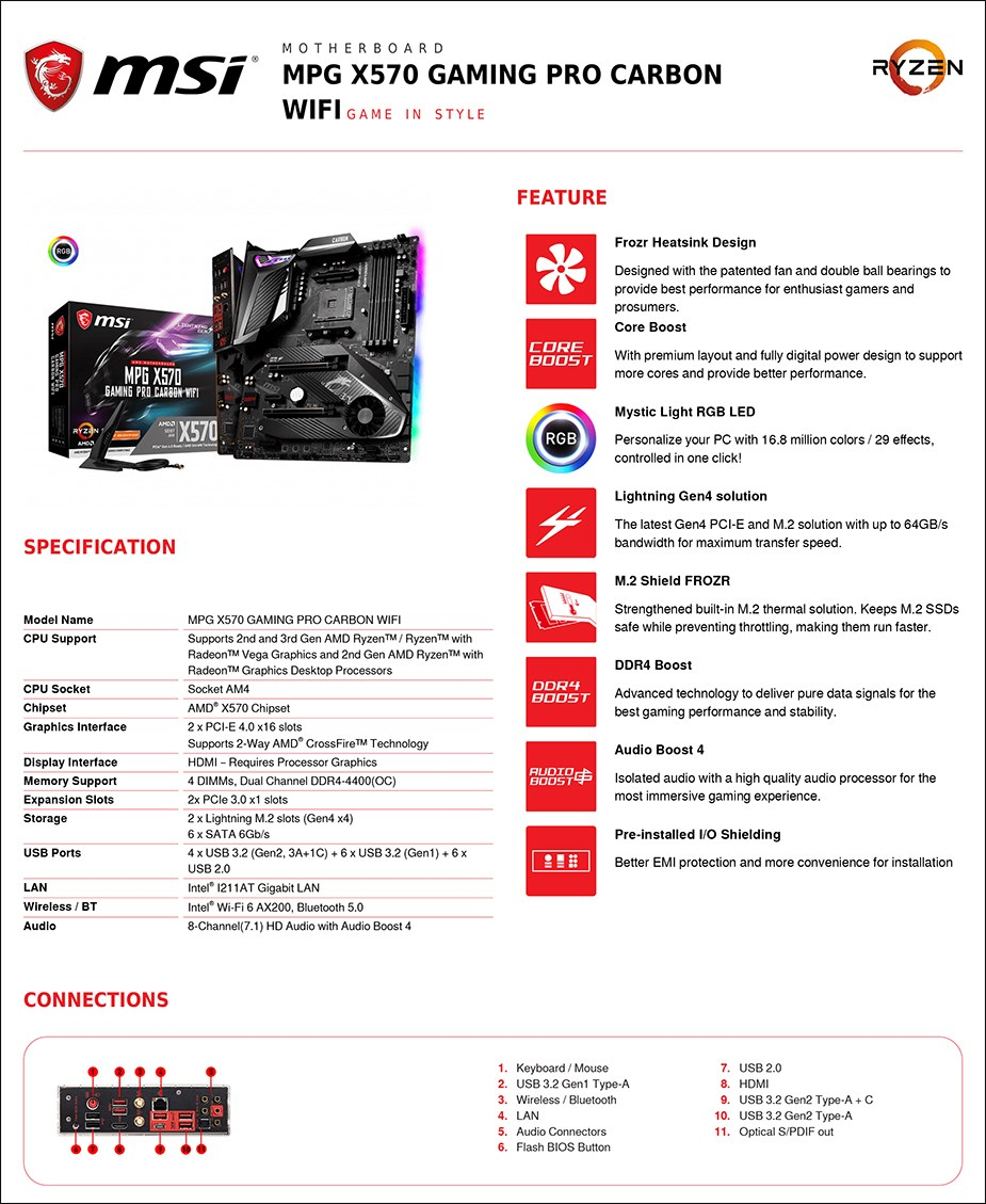 MSI MPG X570 GAMING PRO CARBON WIFI AM4 ATX Motherboard - Overview 2