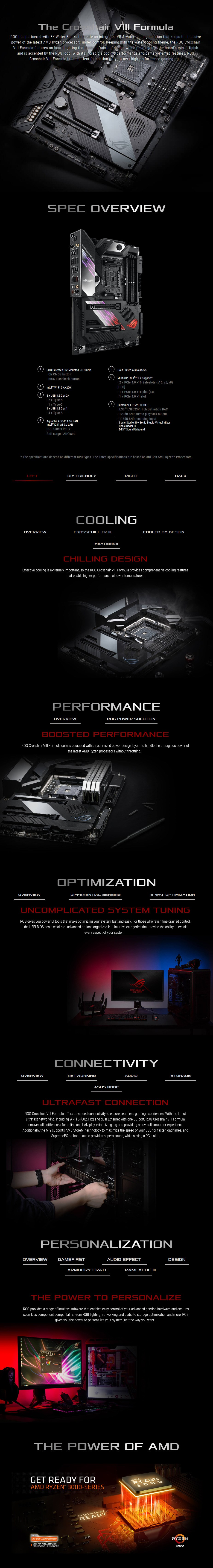ASUS ROG Crosshair VIII Formula X570 AM4 ATX Motherboard - Overview 1