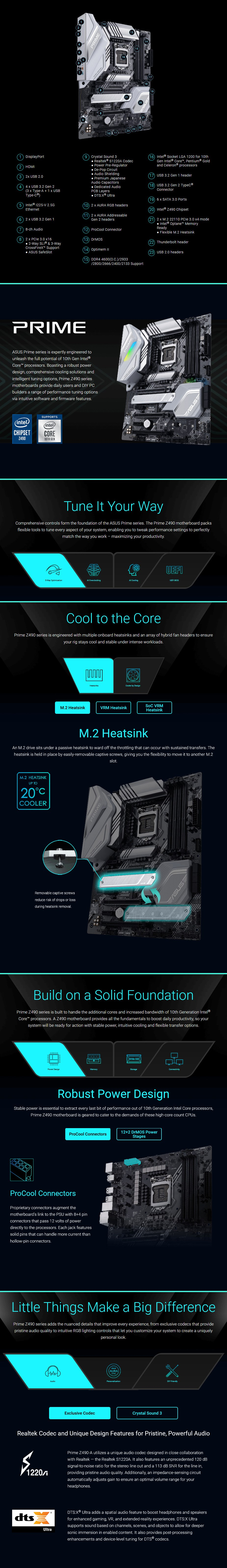 ASUS PRIME Z490-A LGA 1200 ATX Motherboard - Overview 1
