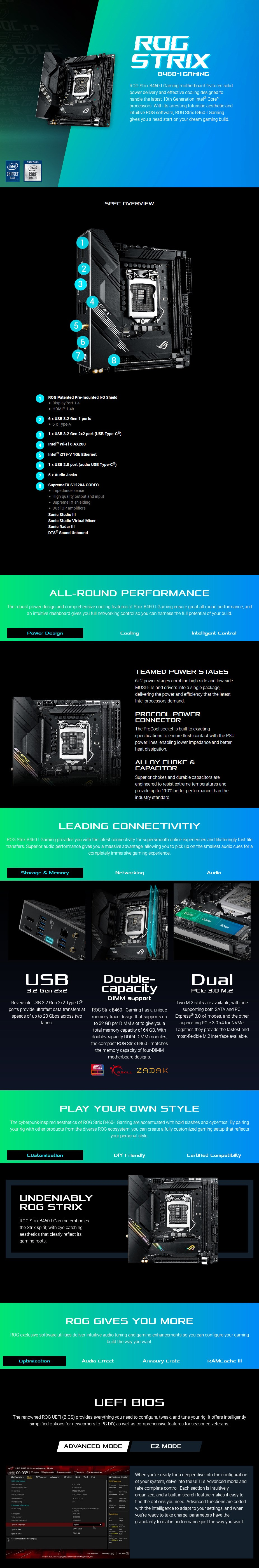 ASUS ROG STRIX B460-I GAMING LGA 1200 Mini-ITX Motherboard - Overview 1