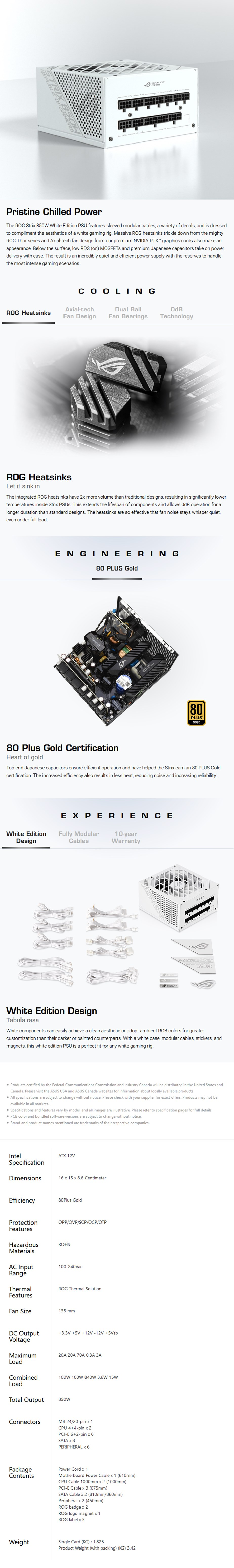 ASUS ROG Strix 850W 80+ Gold Fully Modular Power Supply - White - Overview 1