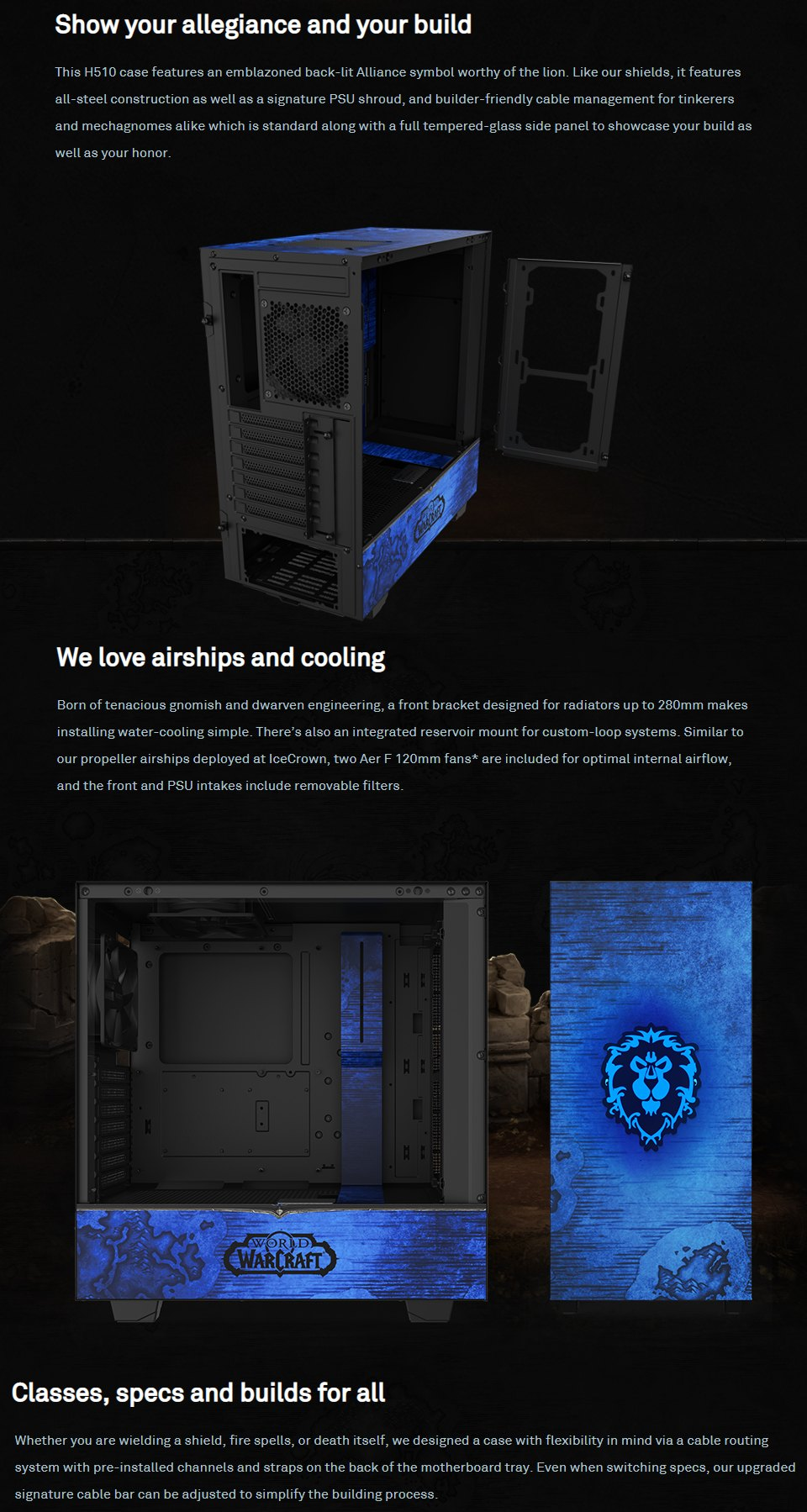 NZXT H510 Mid Tower Case World of Warcraft Alliance Ltd Edition features 2