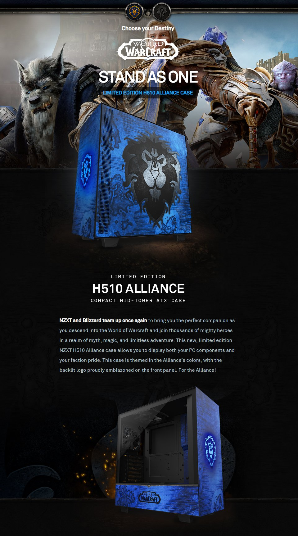 NZXT H510 Mid Tower Case World of Warcraft Alliance Ltd Edition features