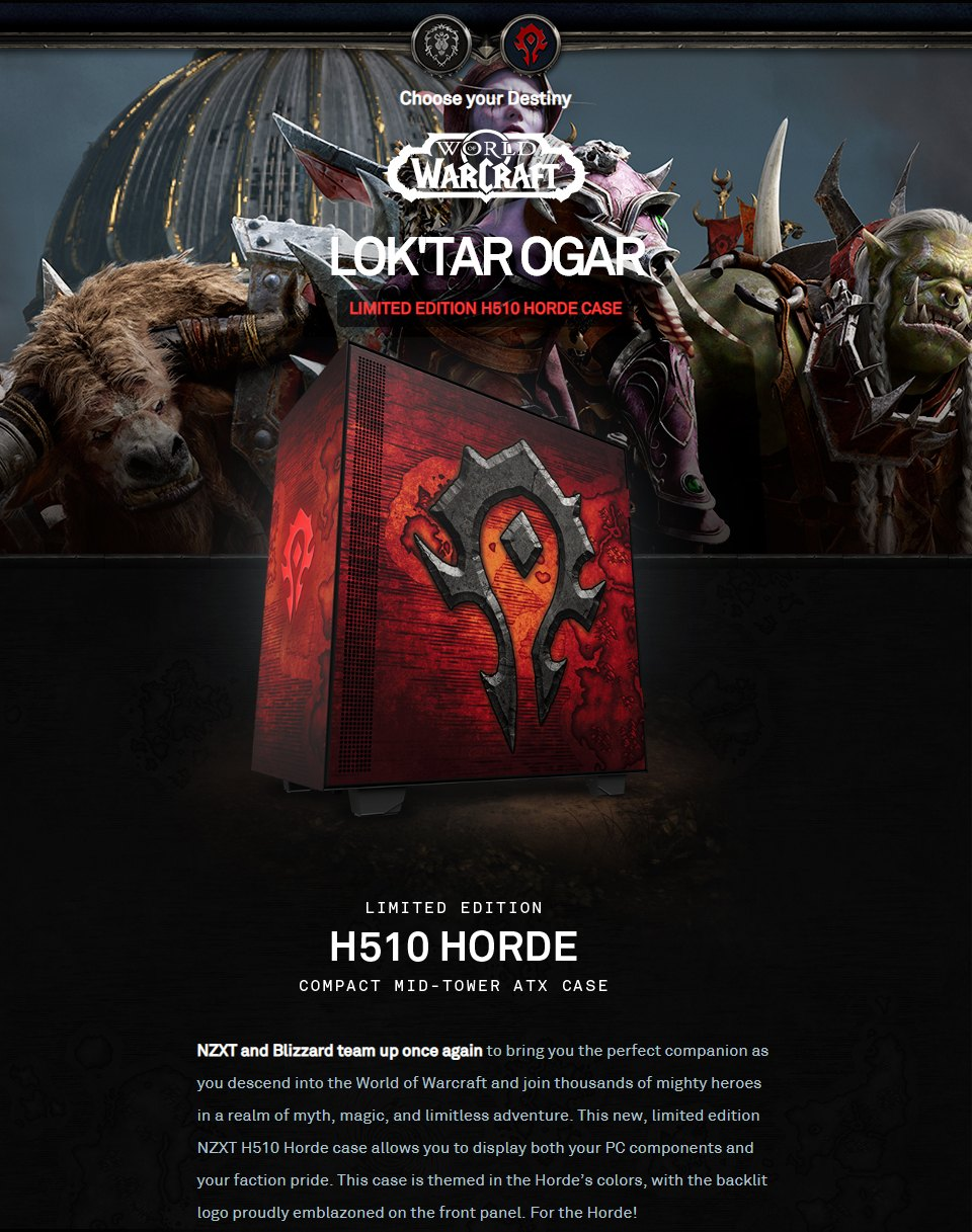 NZXT H510 Mid Tower Case World of Warcraft Horde Limited Edition features 3
