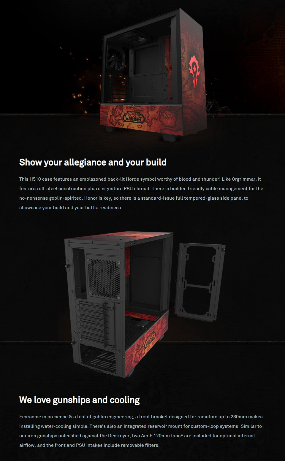 NZXT H510 Mid Tower Case World of Warcraft Horde Limited Edition features
