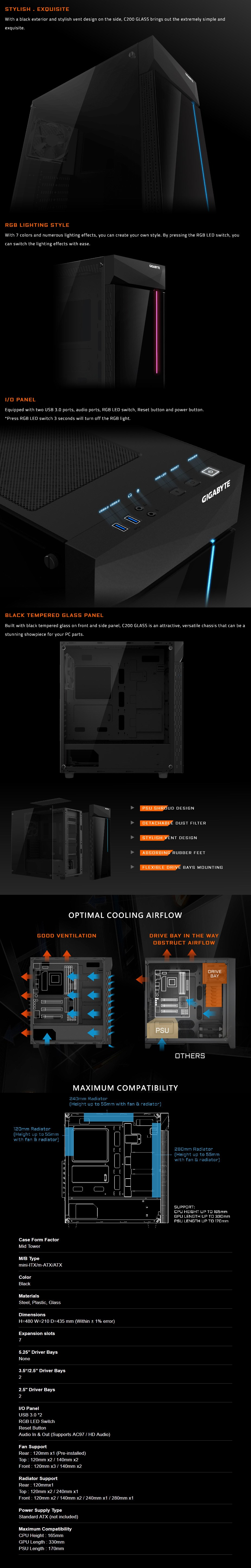 Gigabyte C200 RGB Tempered Glass Mid-Tower ATX Case - Overview 1