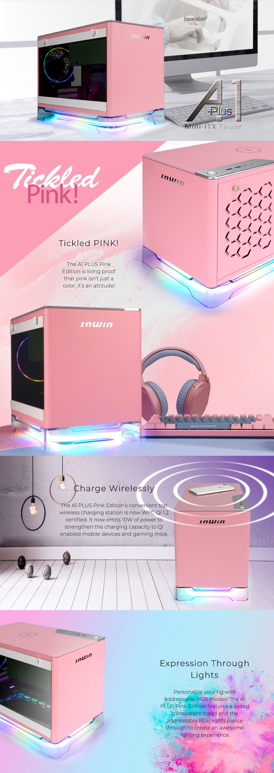 InWin A1 Plus Mini ITX Case with 650W PSU Pink features