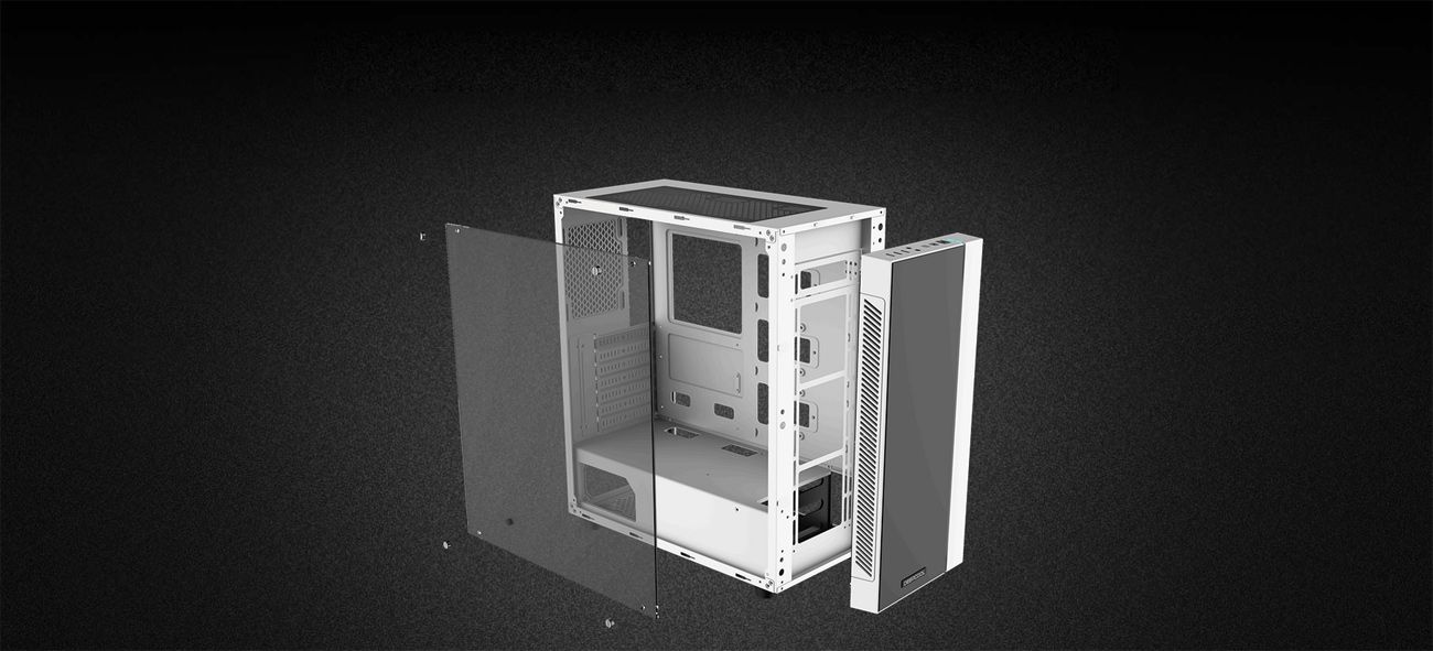 white MATREXX 55 case with its front panel and side tempered-glass panel removed and hovering inches away from the main chassis