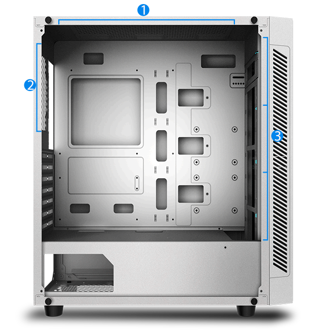 Matrexx 55 case with side panel removed and 3 points