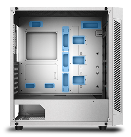 diagram of the case facing sideways with its tempered glass panel removed