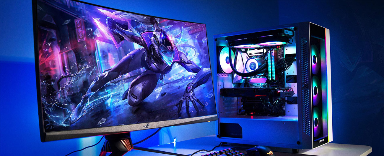 An RGB-lit gaming setup including the Matrexx 55 on a desk with a keyboard and monitor depicting a neon-future sci-fi warrior