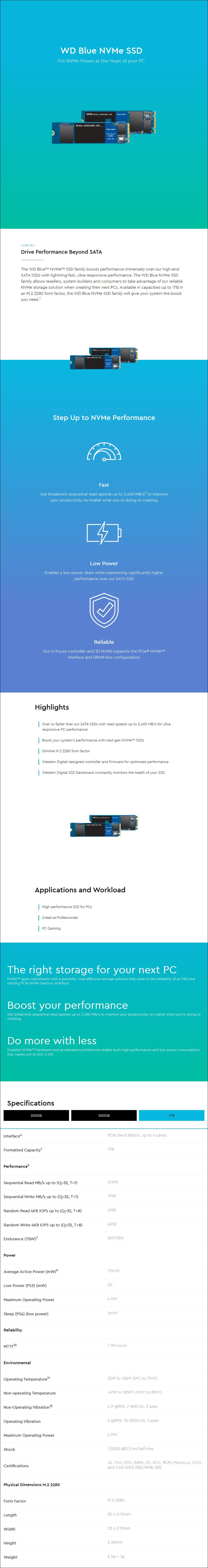 WD Blue SN550 1TB M.2 2280 NVMe SSD WDS100T2B0C - Overview 1