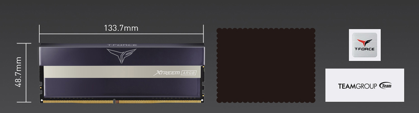 what's in the box and Team T-Force XTREEM ARGB Desktop Memory Model size