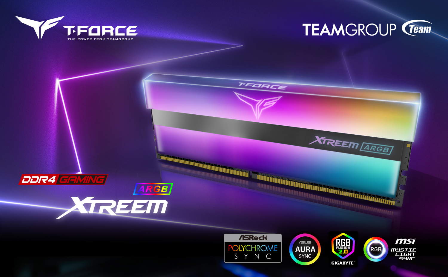 Team T-Force XTREEM ARGB Desktop Memory Model side view and Team Group logo