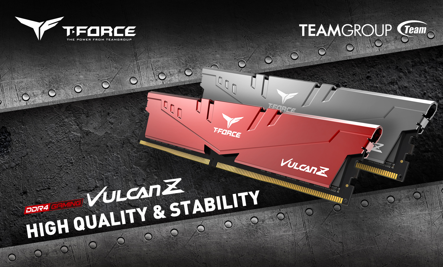 T-FORCE and TEAMGROUP logos above the red and gray memory sticks angled up, looking to the left next to text that reads DDR4 GAMING VULCAN Z - HIGH-QUALITY & STABILITY. The background is a sheet metal background