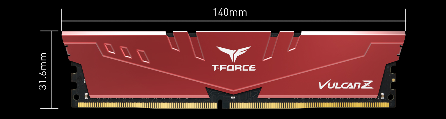 Red VULCAN Z memory stick facing forward with graphics and text indicating 31.6mm height and 140mm width