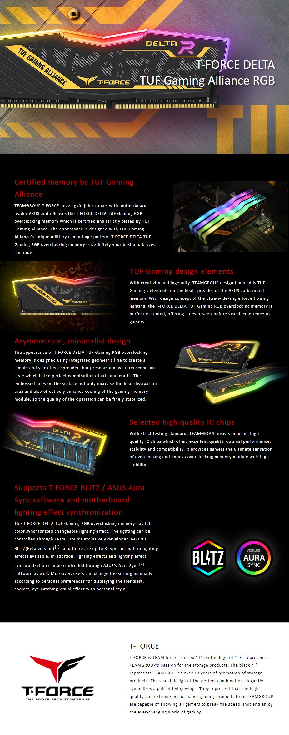 Team T-Force Delta TUF Gaming RGB 16GB (2x 8GB) DDR4 3200MHz Memory - Overview 1