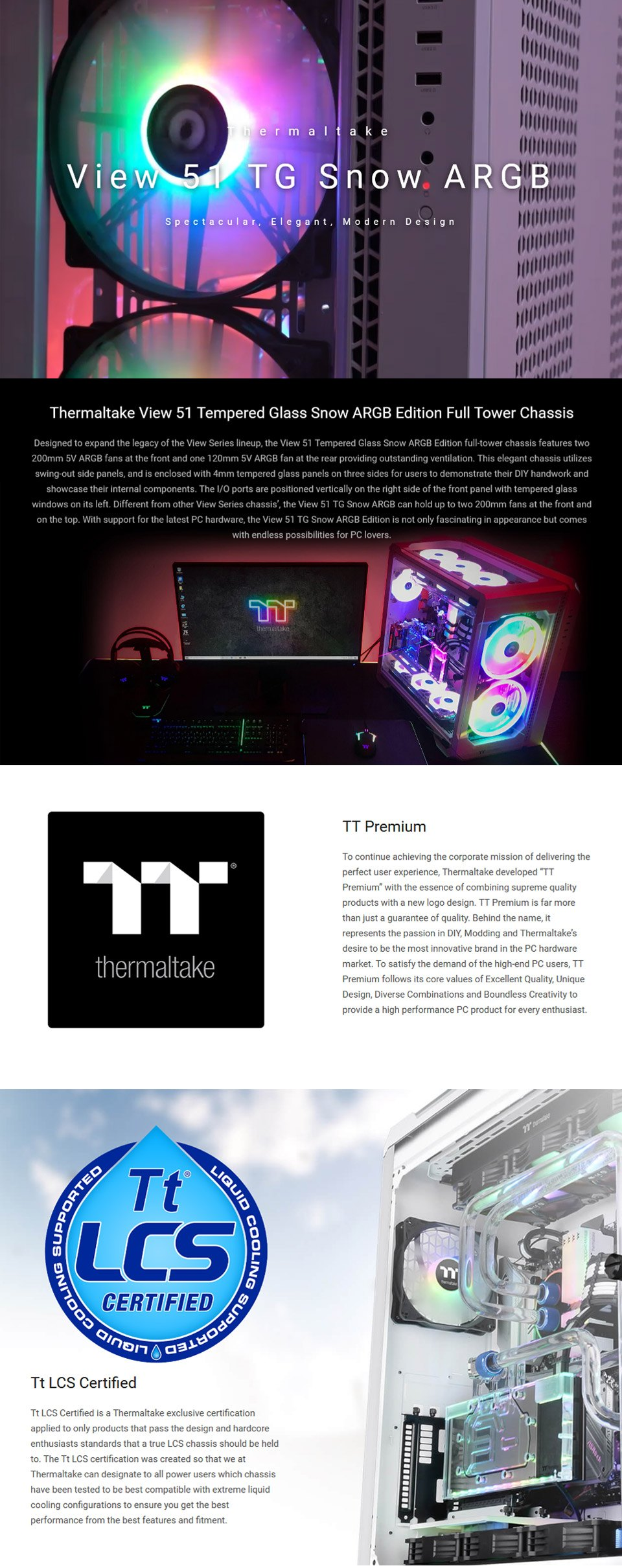 Thermaltake View 51 A-RGB Tempered Glass Case White features