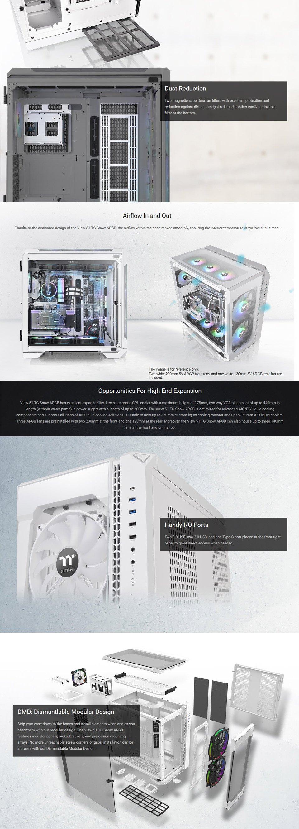 Thermaltake View 51 A-RGB Tempered Glass Case White features 3