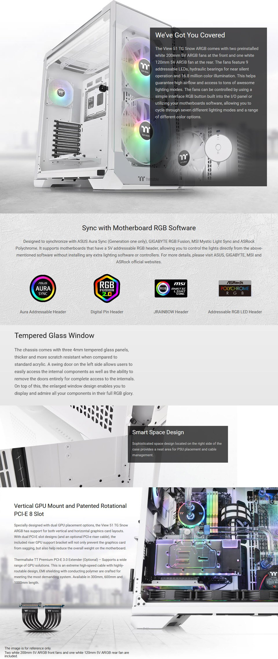 Thermaltake View 51 A-RGB Tempered Glass Case White features 2