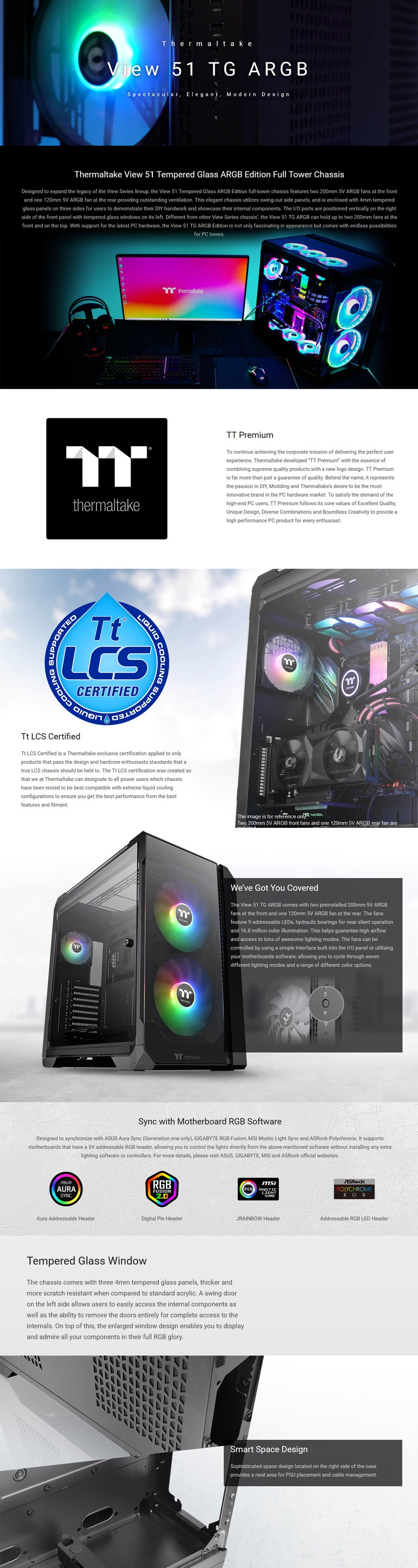 Thermaltake View 51 A-RGB Tempered Glass Case Black features