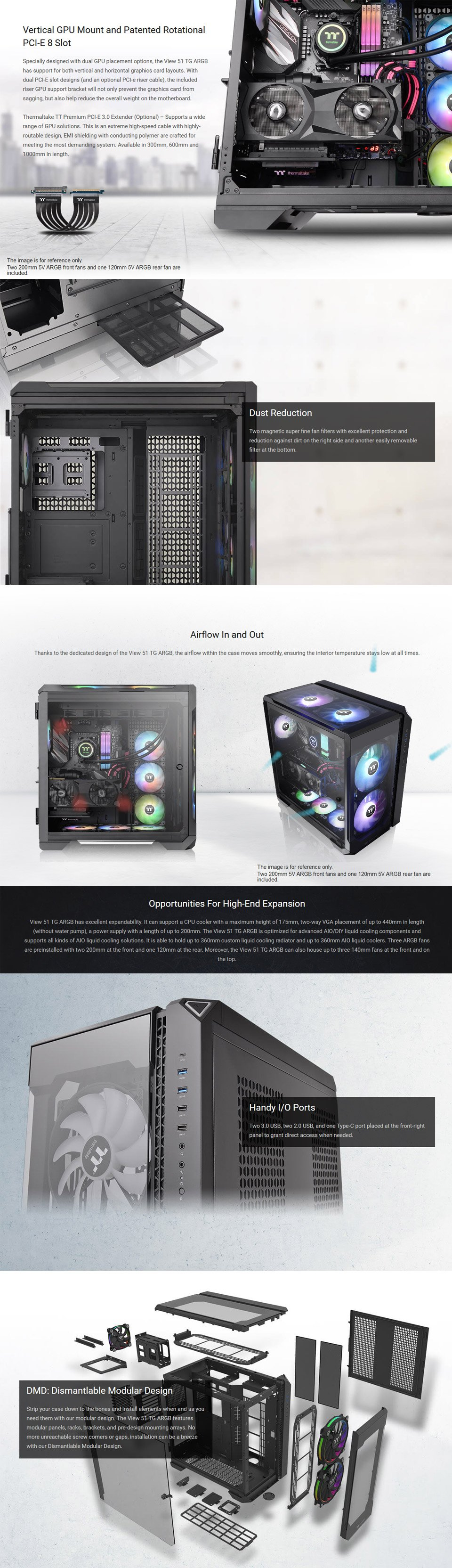 Thermaltake View 51 A-RGB Tempered Glass Case Black features 2