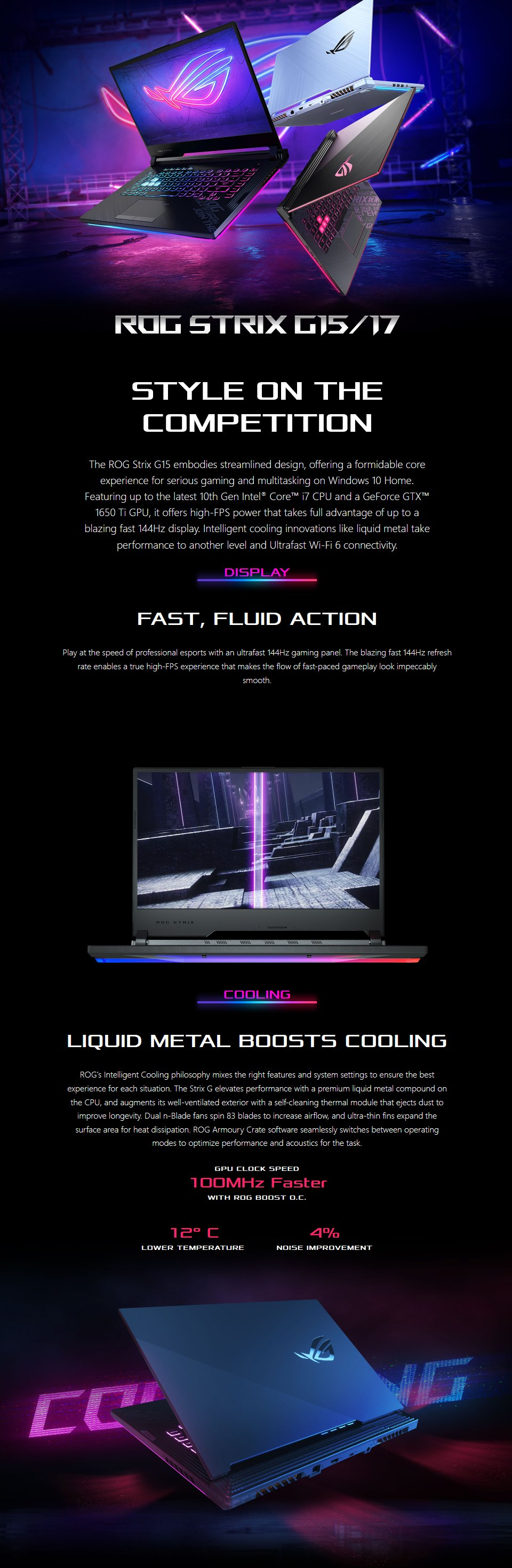 ASUS ROG Strix G15 i7 GTX 1650 Ti 15.6in Laptop features