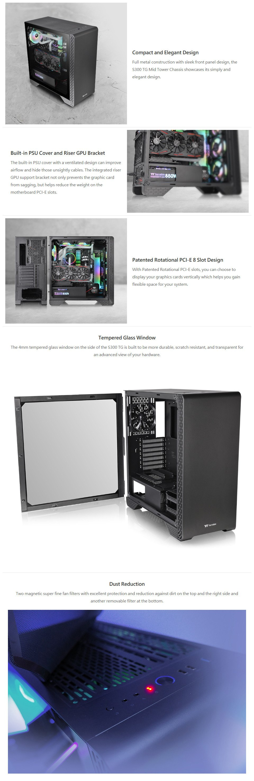 Thermaltake S300 Tempered Glass Mid-Tower Case Snow Edition features 2