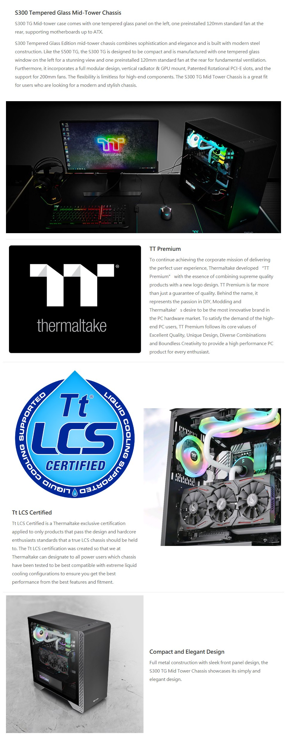 Thermaltake S300 Tempered Glass Mid-Tower Case Snow Edition features
