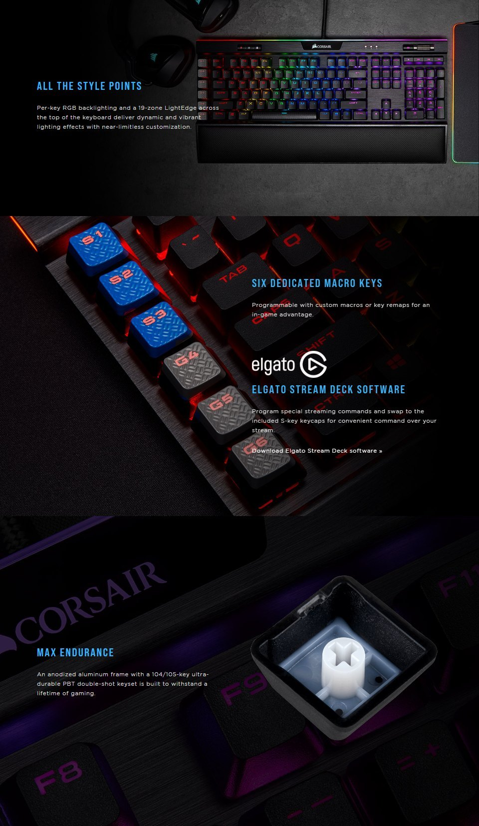 Corsair K95 Platinum XT RGB Mech Keyboard Cherry MX Brown features