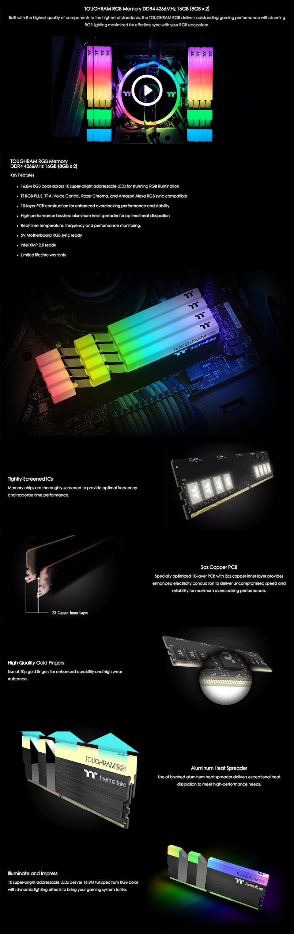 Thermaltake ToughRAM RGB 4000MHz 16GB (2x8GB) DDR4 features