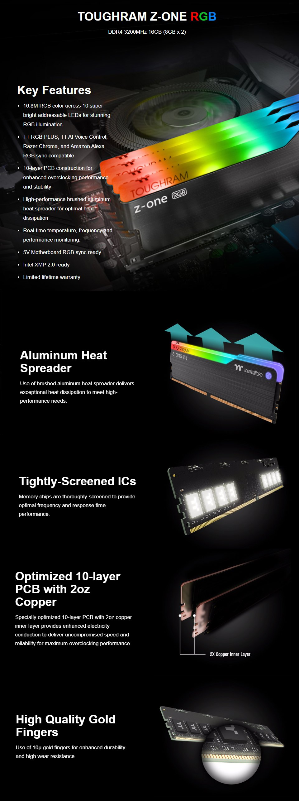 Thermaltake ToughRAM Z-ONE RGB 16GB (2x8GB) 3200MHz CL16 DDR4 features