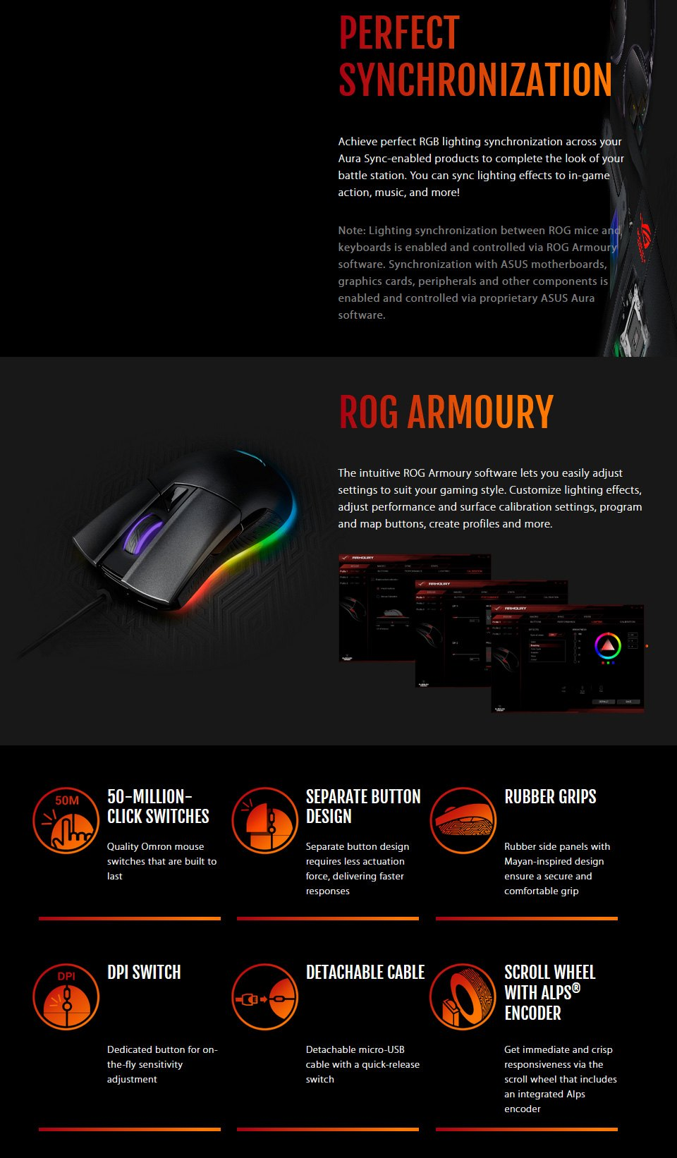 ASUS ROG Gladius II Origin RGB Optical Gaming Mouse Black features 2