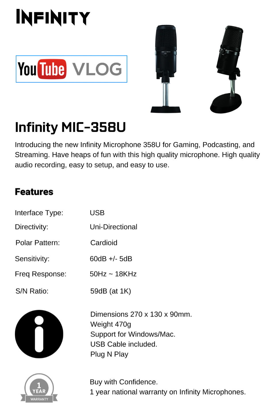 Infinity MIC358U USB Microphone Black features and specifications