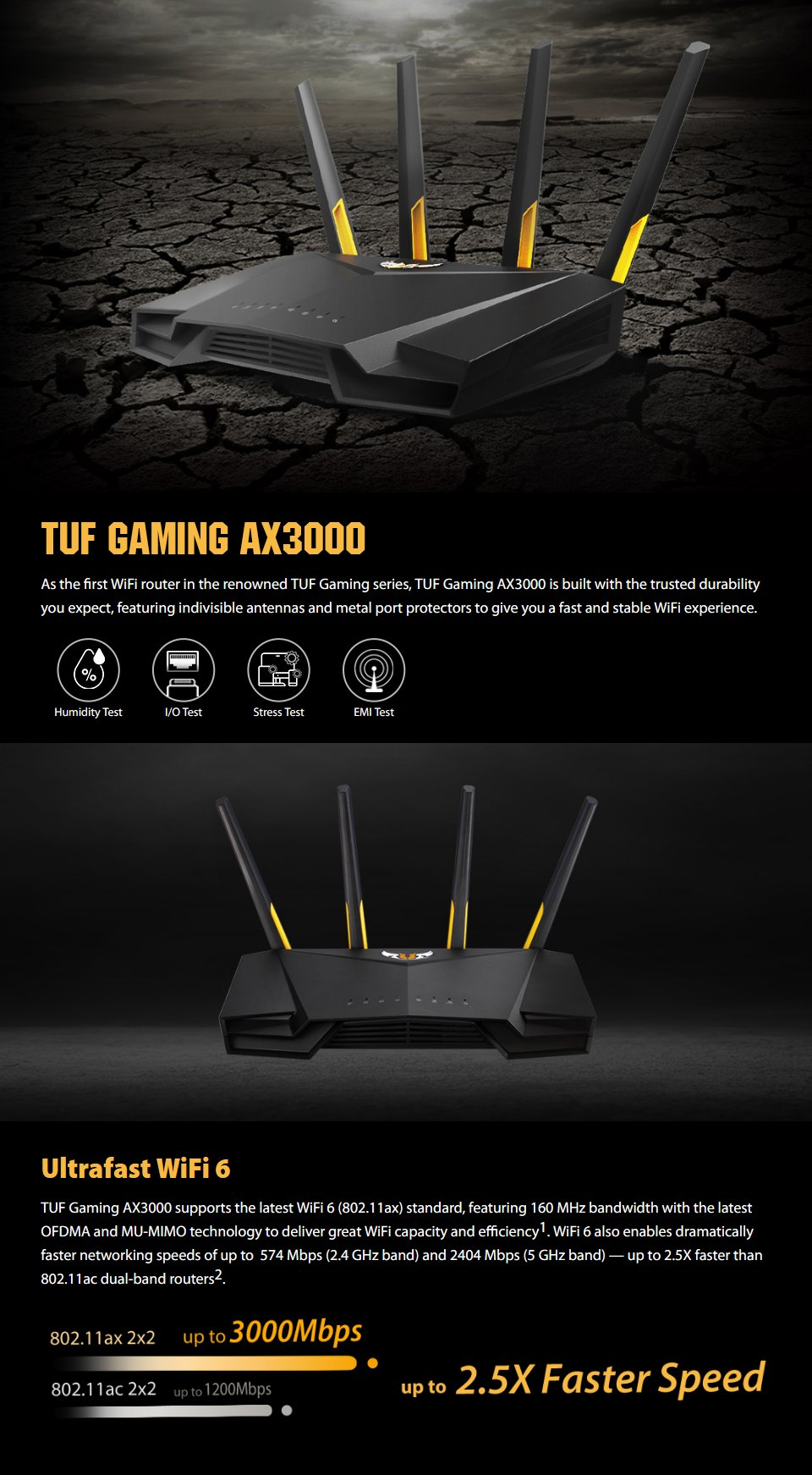 ASUS TUF AX3000 Dual Band Wi-Fi 6 Gaming Router features
