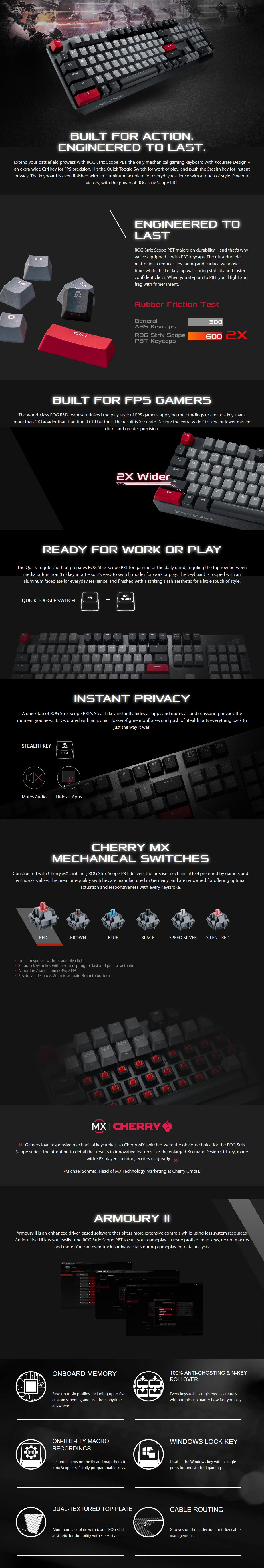 ASUS ROG Strix Scope PBT Mechanical Gaming Keyboard - Cherry MX Red - Overview 1