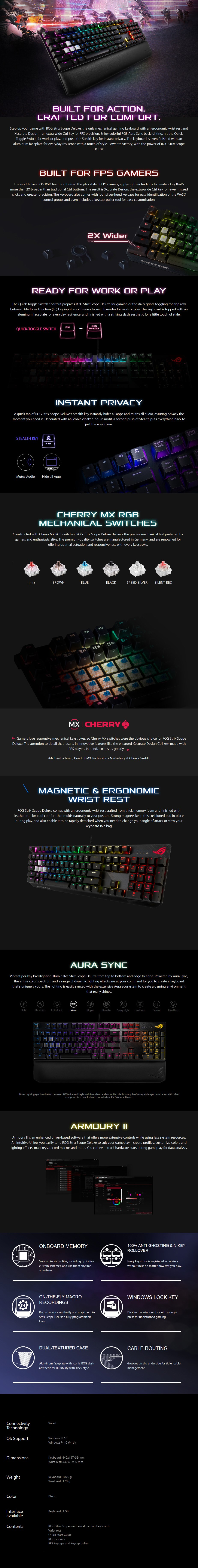 ASUS ROG Strix Scope RGB Mechanical Gaming Keyboard - Cherry MX Red Switches - Overview 1