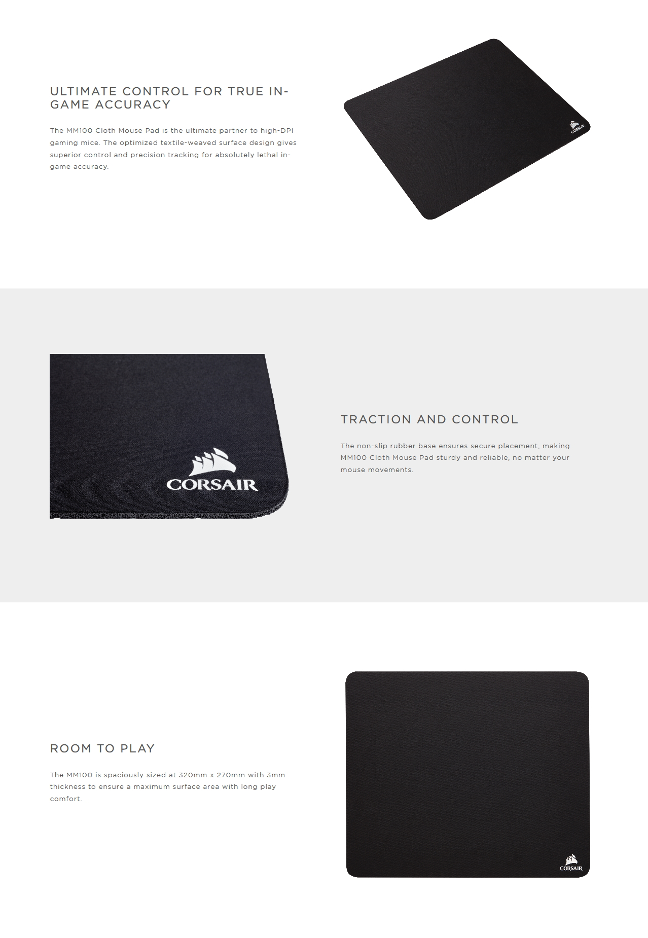 A large marketing image providing additional information about the product Corsair MM100 Cloth Gaming Mouse Mat - Medium - Additional alt info not provided