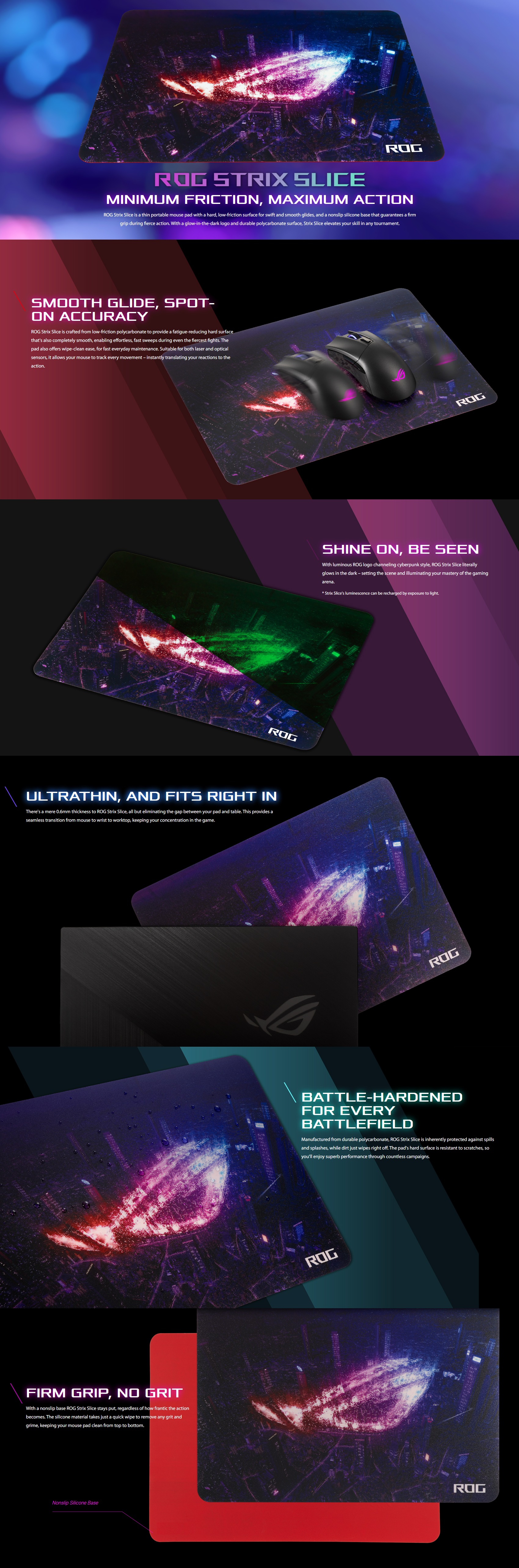 A large marketing image providing additional information about the product ASUS ROG Strix Slice Gaming Mousemat - Additional alt info not provided