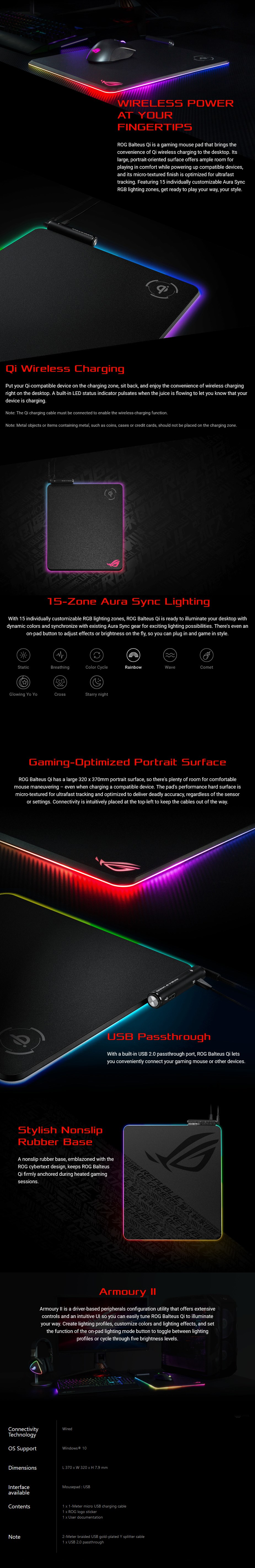 ASUS ROG Balteus Qi Wireless Charging Mouse Pad - Overview 1