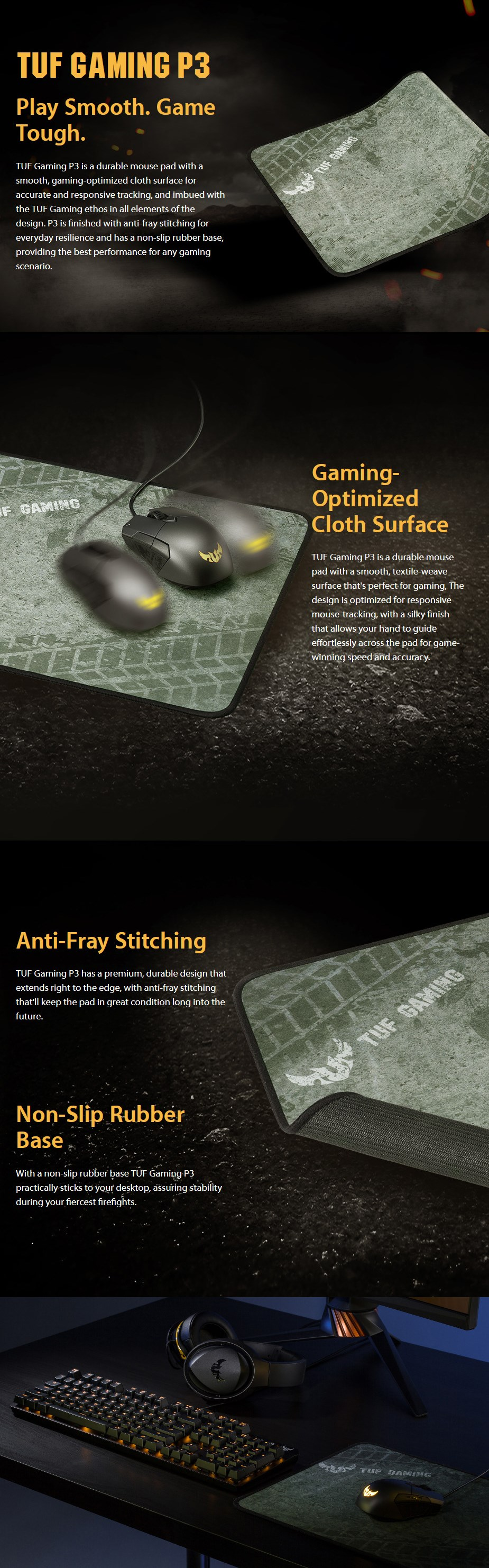ASUS TUF Gaming P3 Cloth Gaming Mouse Pad - Desktop Overview 1