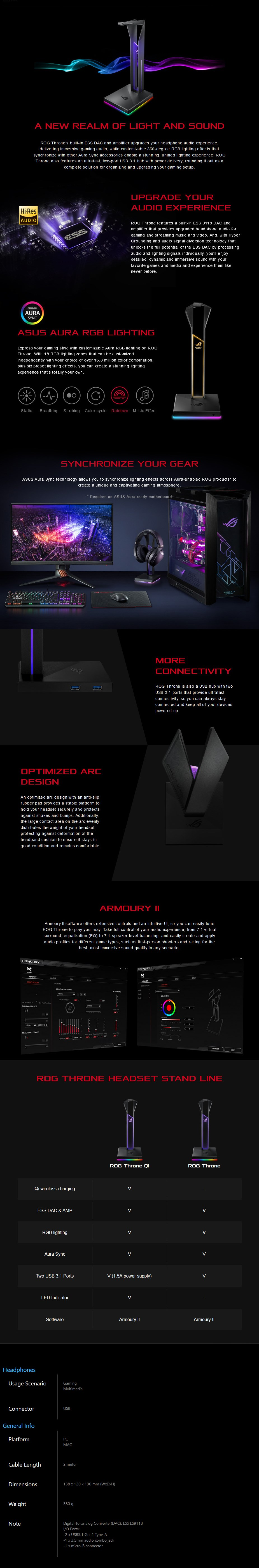 ASUS ROG Throne RGB Headphone Stand with 7.1 Surround Sound - Overview 1