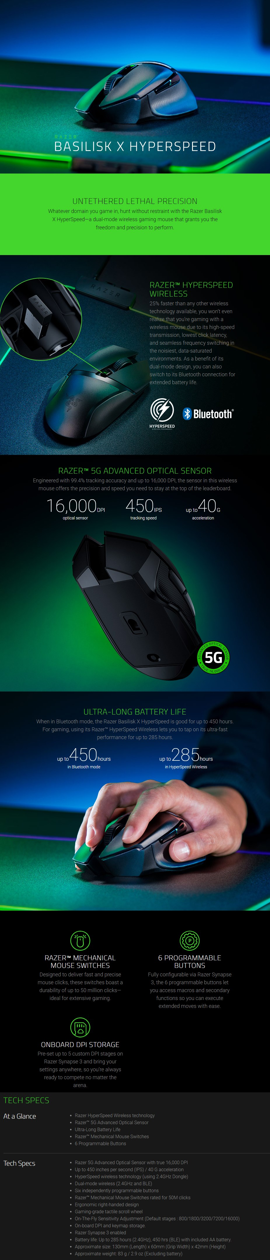 Razer Basilisk X HyperSpeed Wireless Optical Gaming Mouse - Overview 1