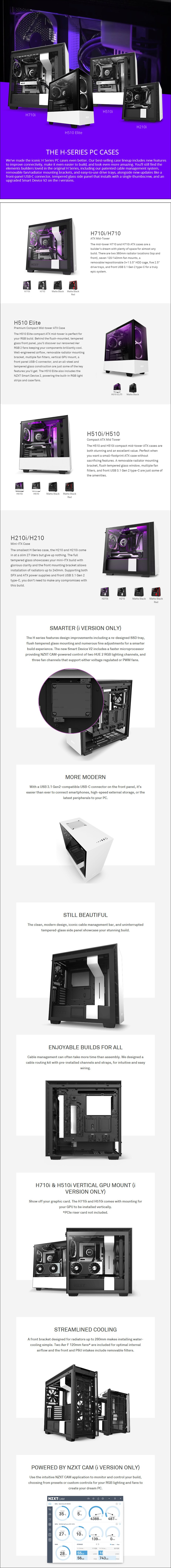 NZXT H710i Smart Tempered Glass Mid-Tower E-ATX Case - Matte White - Overview 1