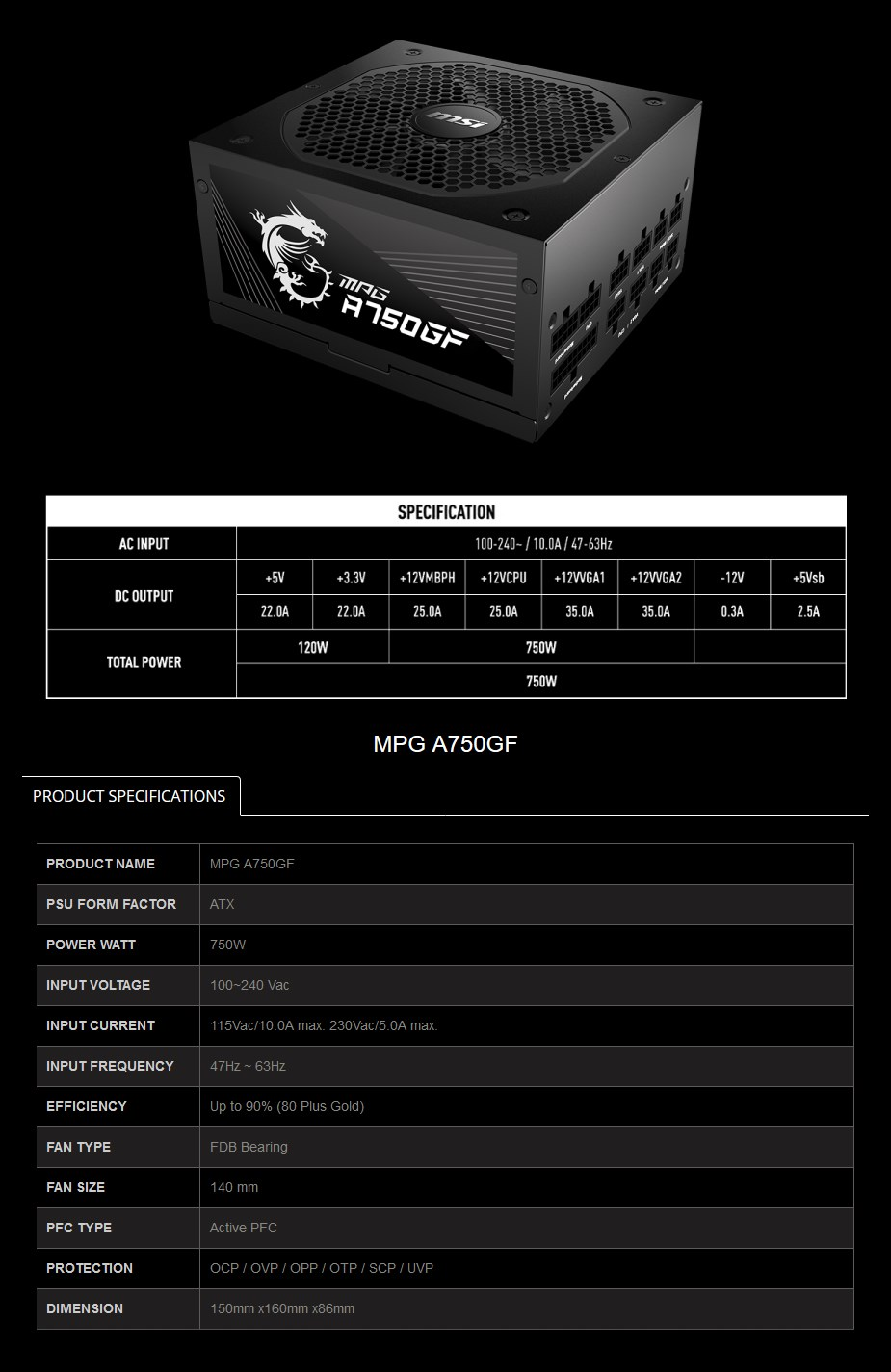 MSI MPG 750W 80 + Gold Fully Modular ATX Power Supply - Overview 1