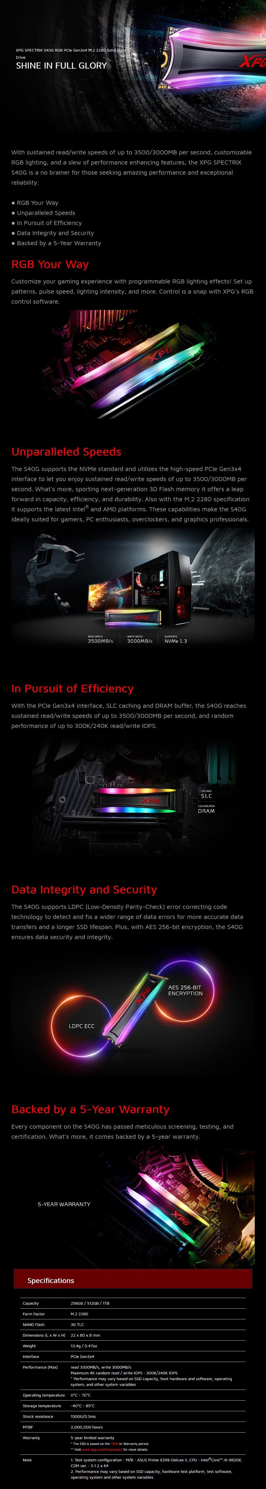 Adata XPG Spectrix S40G 512GB RGB M.2 NVMe SSD AS40G-512GT-C - Overview 1