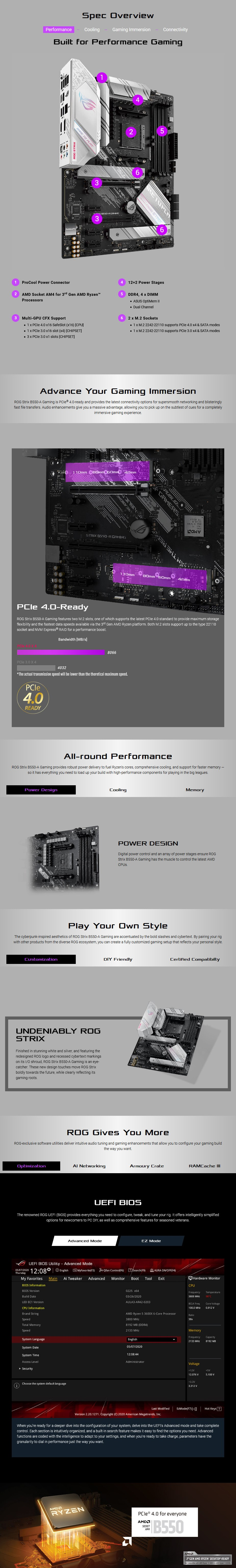 ASUS ROG STRIX B550-A GAMING AM4 ATX Motherboard - Overview 1