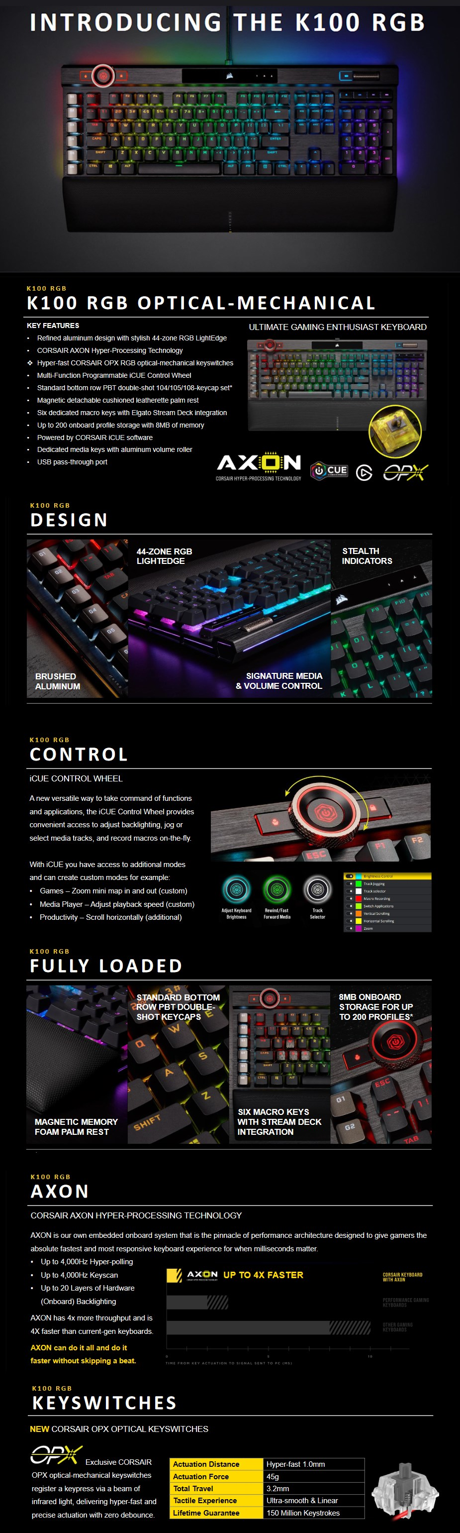 Corsair K100 RGB Optical Mechanical Gaming Keyboard - OPX Switches – First  Blood AU